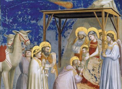 """A sinistra, la Cappella degli Scrovegni a Padova, che ospita il ciclo di affreschi di Giotto dedicati al Vecchio e al Nuovo Testamento. A destra, un dettaglio de """"La Cometa"""""""